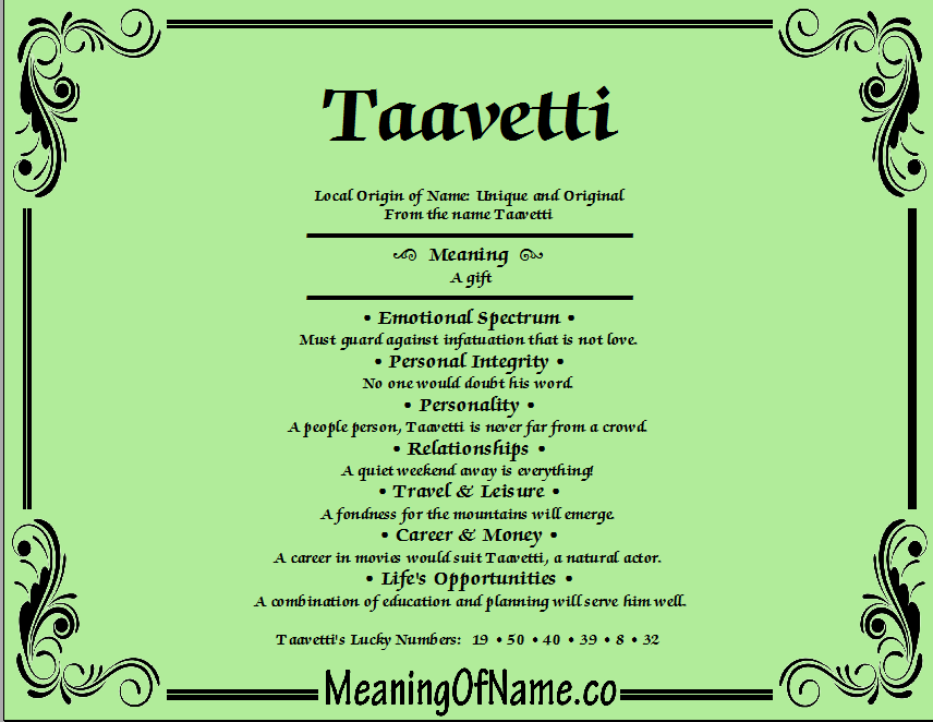 Meaning of Name Taavetti