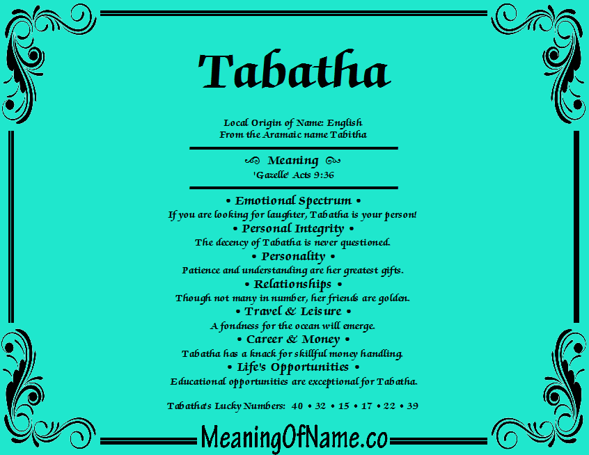 Meaning of Name Tabatha