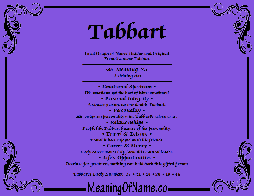 Meaning of Name Tabbart