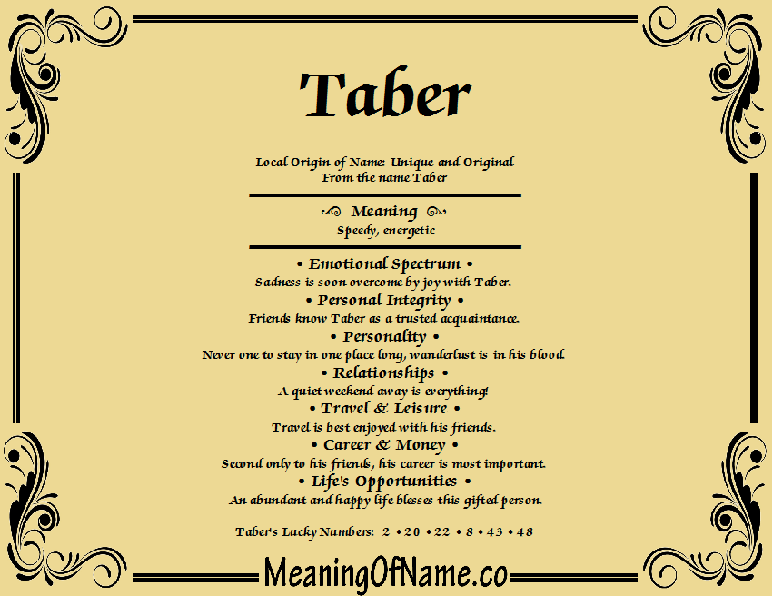 Meaning of Name Taber
