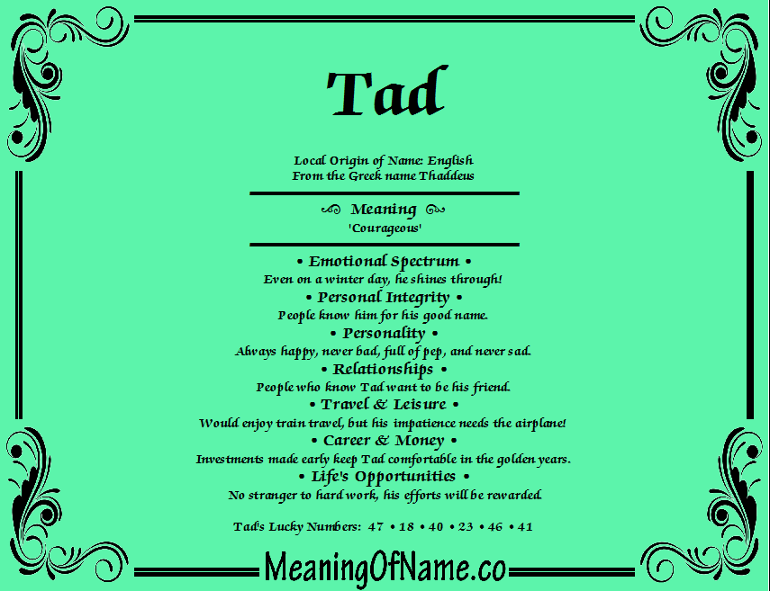 Meaning of Name Tad