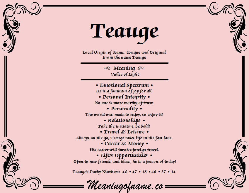 Meaning of Name Teauge