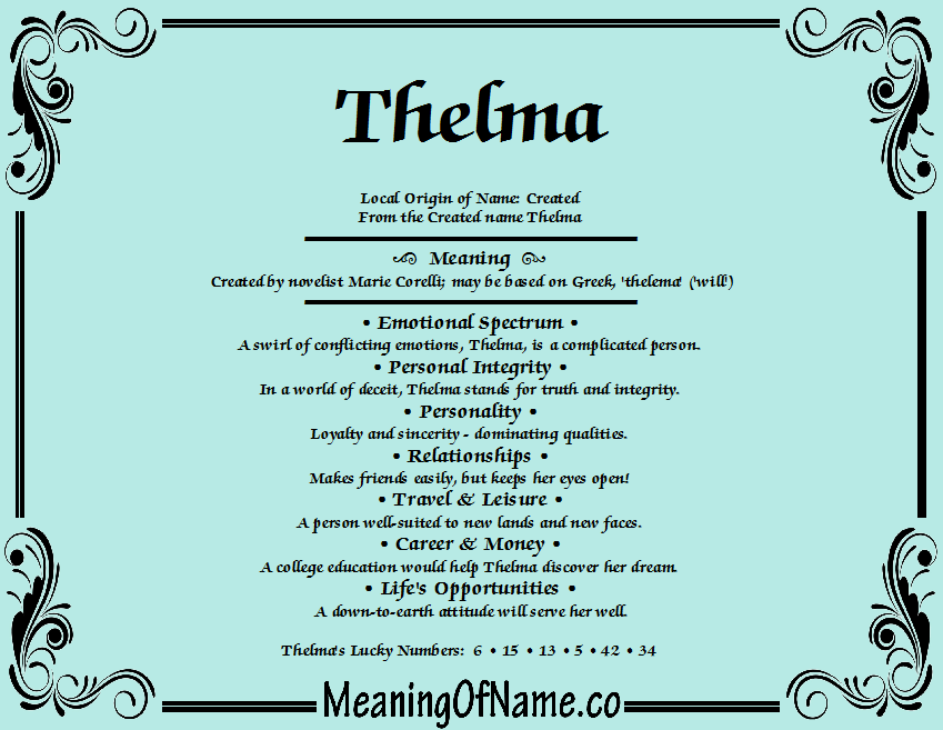 Meaning of Name Thelma