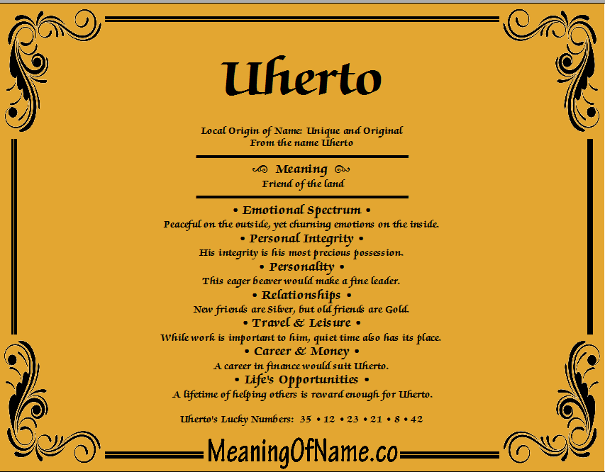 Meaning of Name Uherto