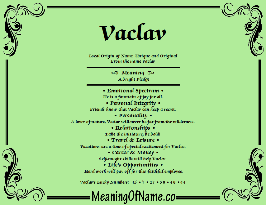 Meaning of Name Vaclav