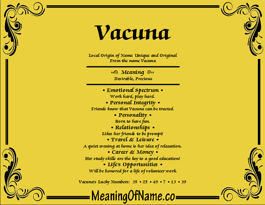 Meaning of Name Vacuna