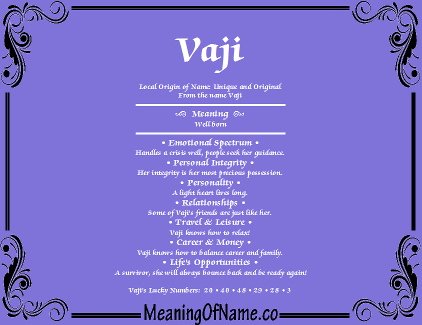 Meaning of Name Vaji