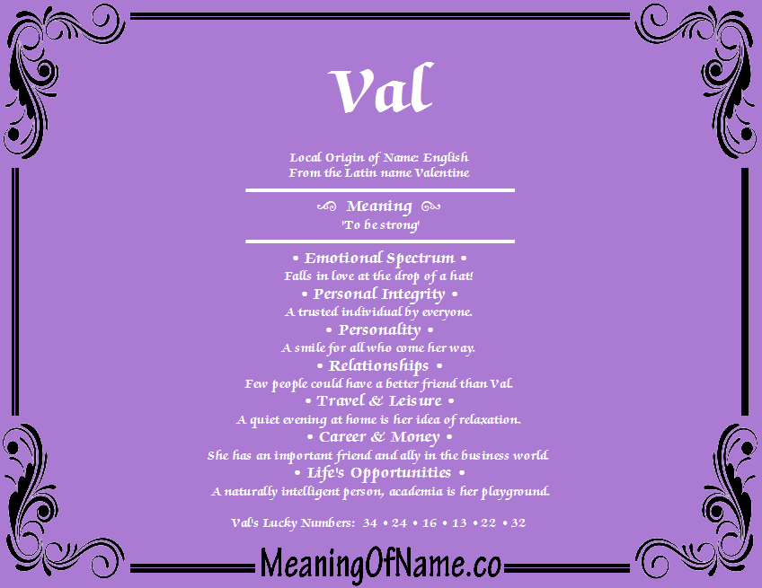 Meaning of Name Val