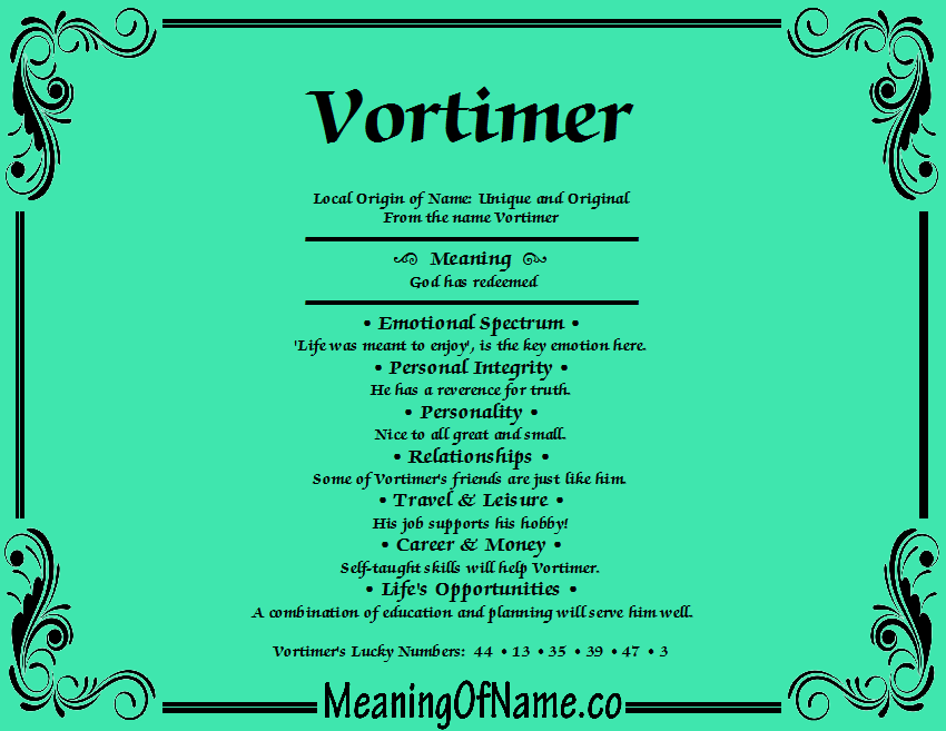 Meaning of Name Vortimer
