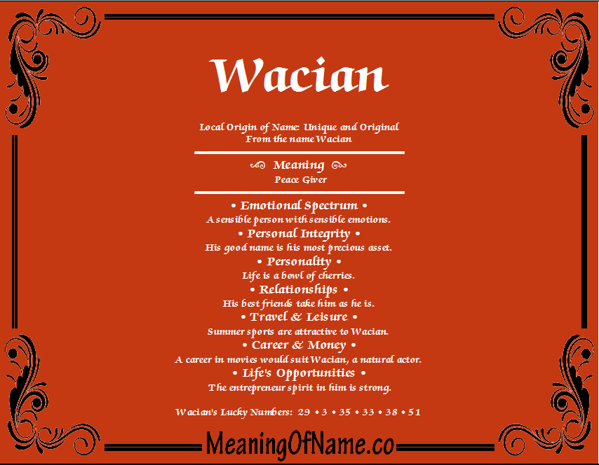 Meaning of Name Wacian