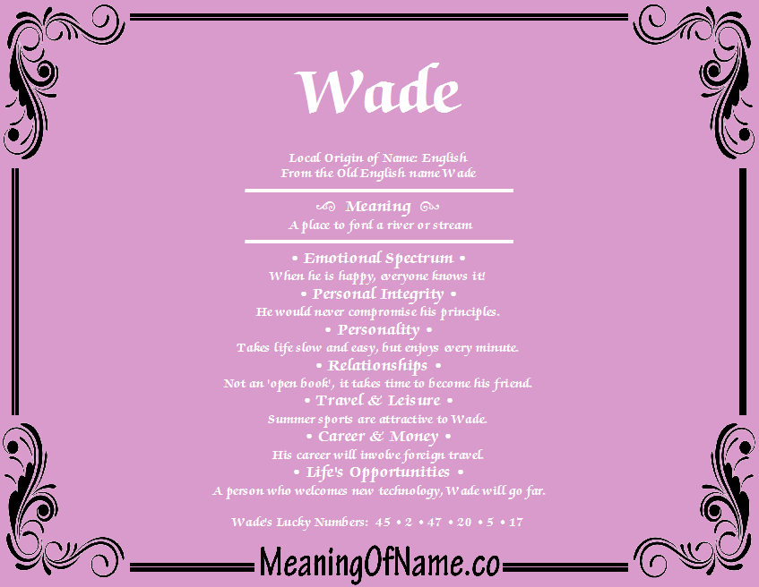 Meaning of Name Wade