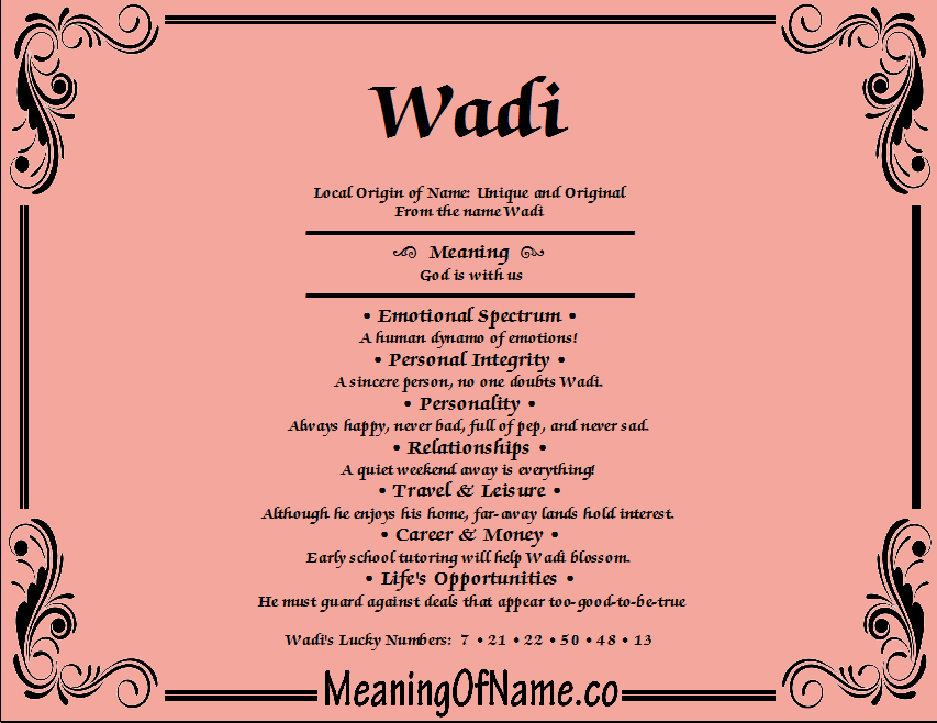 Meaning of Name Wadi