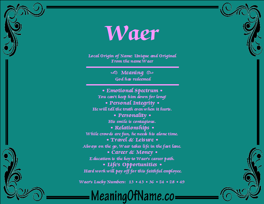 Meaning of Name Waer