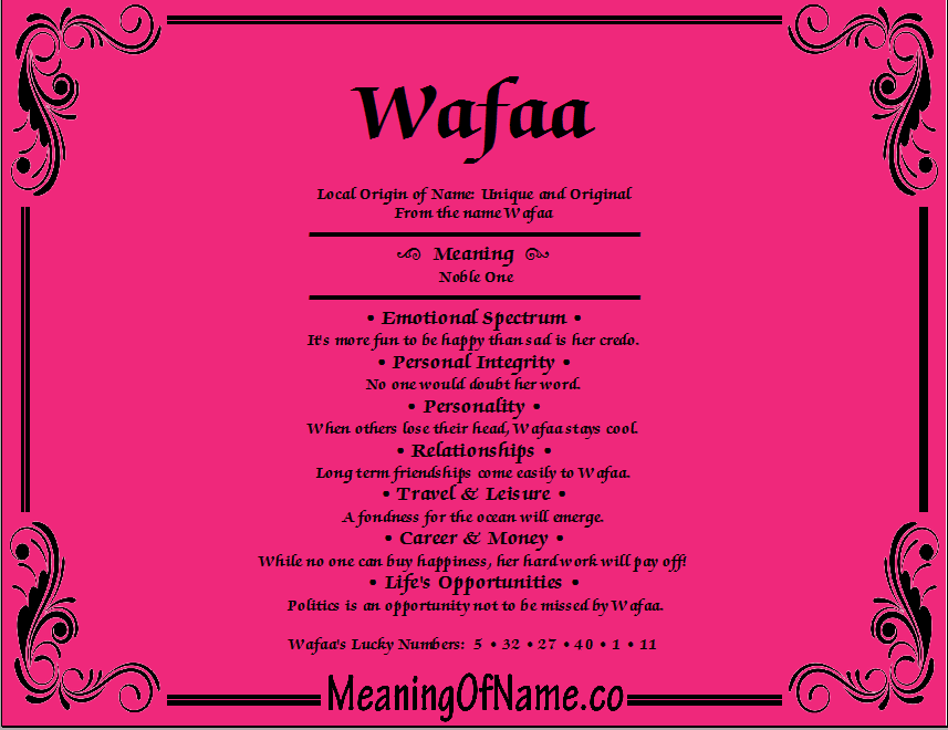 Meaning of Name Wafaa