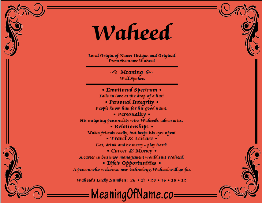 Meaning of Name Waheed