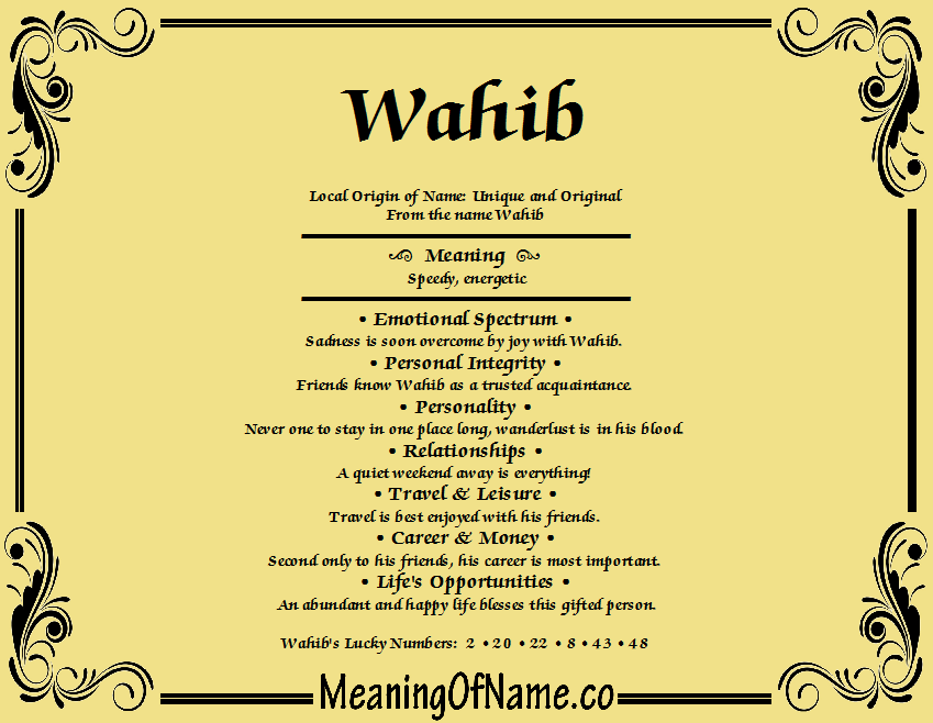 Meaning of Name Wahib