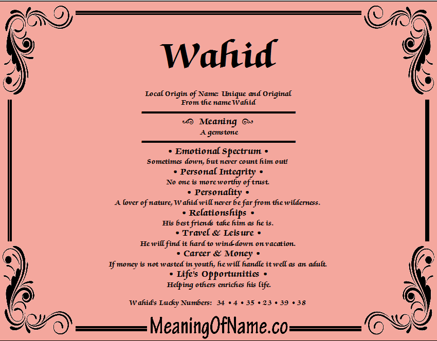 Meaning of Name Wahid