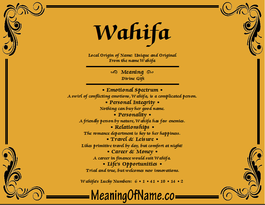 Meaning of Name Wahifa