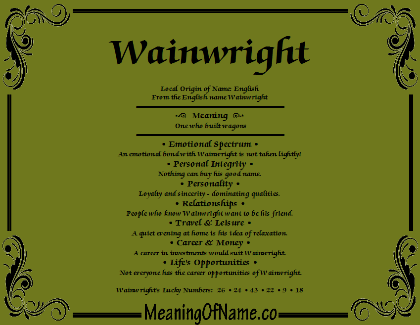 Meaning of Name Wainwright