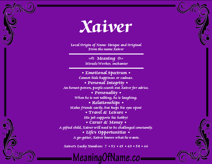 Meaning of Name Xaiver