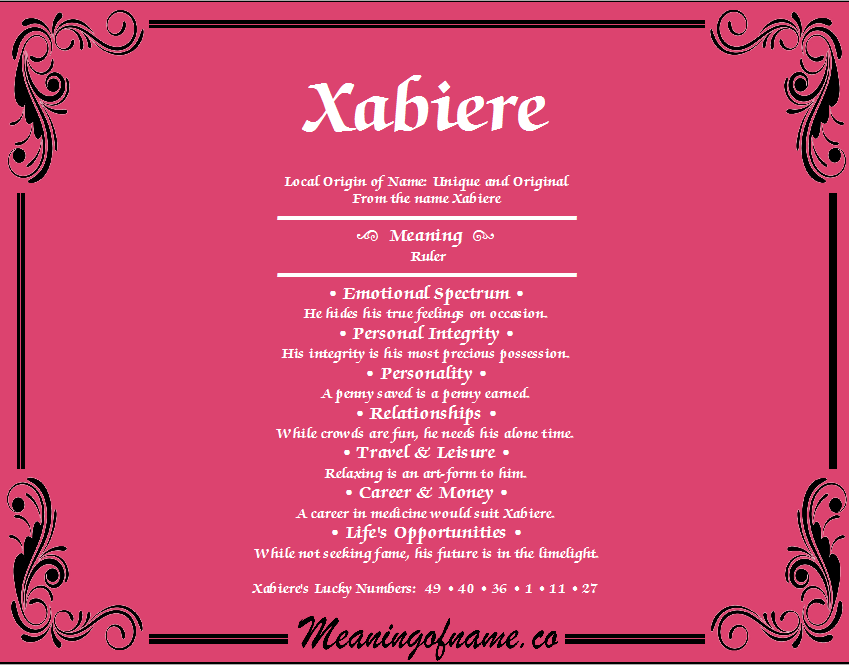 Meaning of Name Xabiere