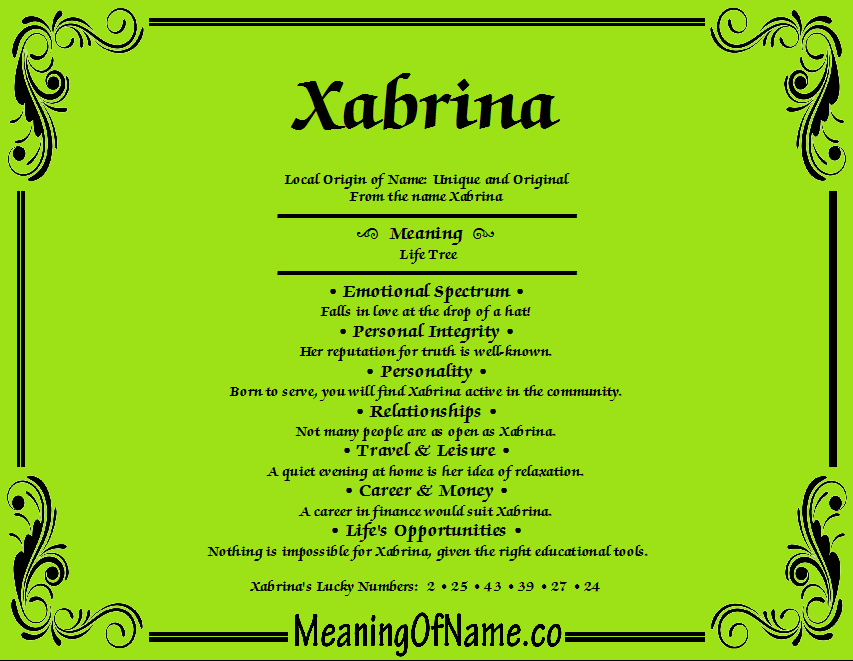 Meaning of Name Xabrina