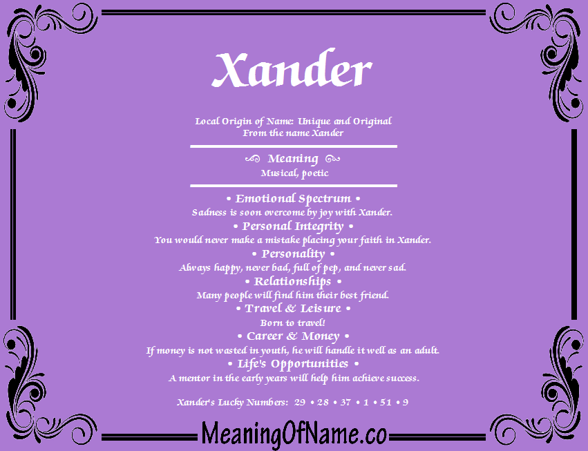 Xander - Meaning of Name
