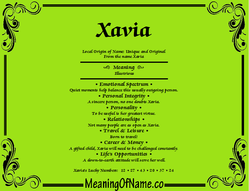Meaning of Name Xavia