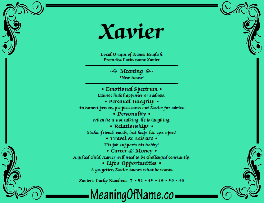 Meaning of Name Xavier