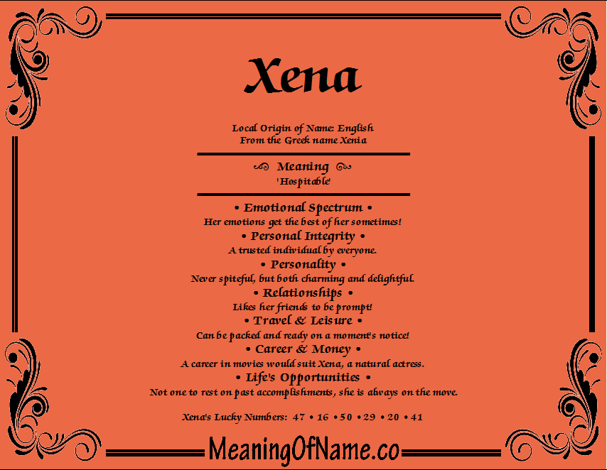 Meaning of Name Xena