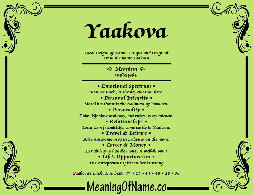 Meaning of Name Yaakova