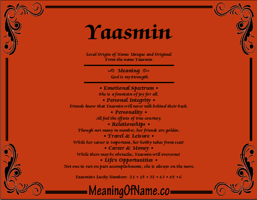 Meaning of Name Yaasmin