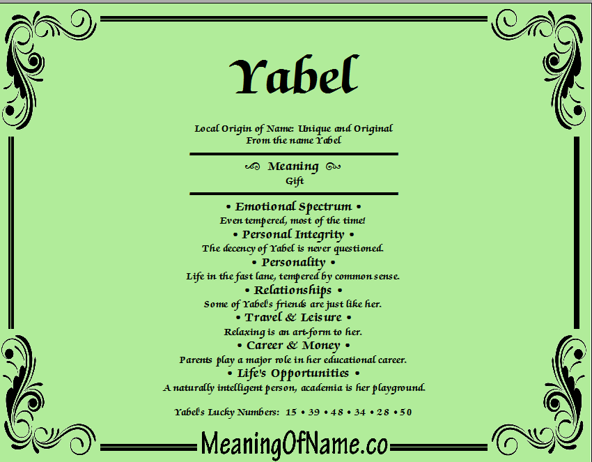 Meaning of Name Yabel