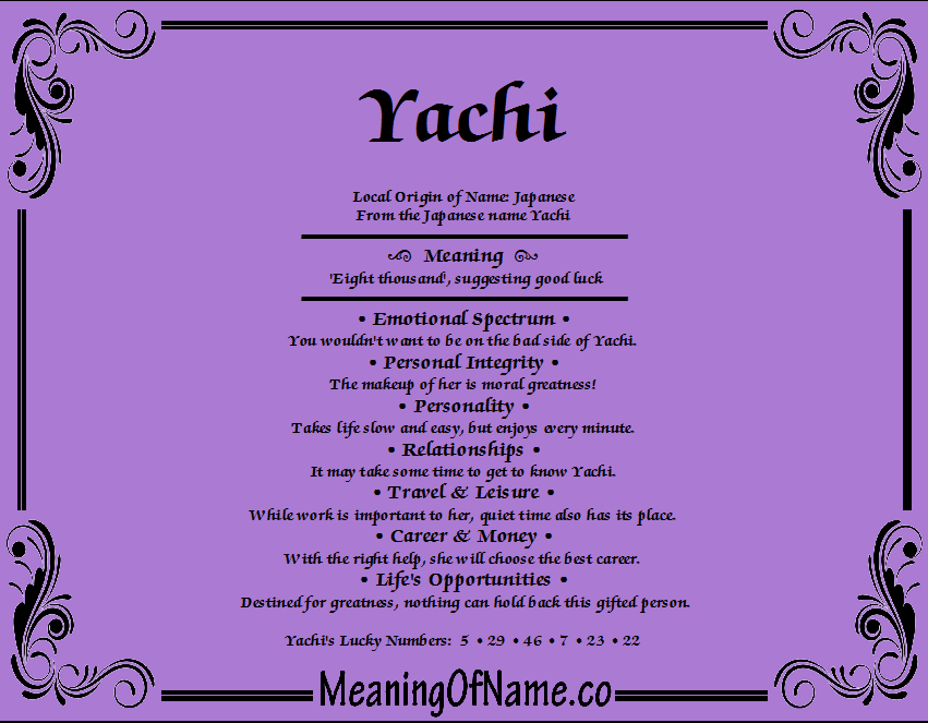 Meaning of Name Yachi