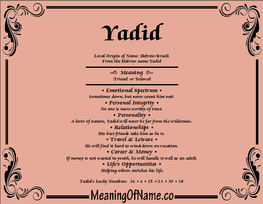 Meaning of Name Yadid