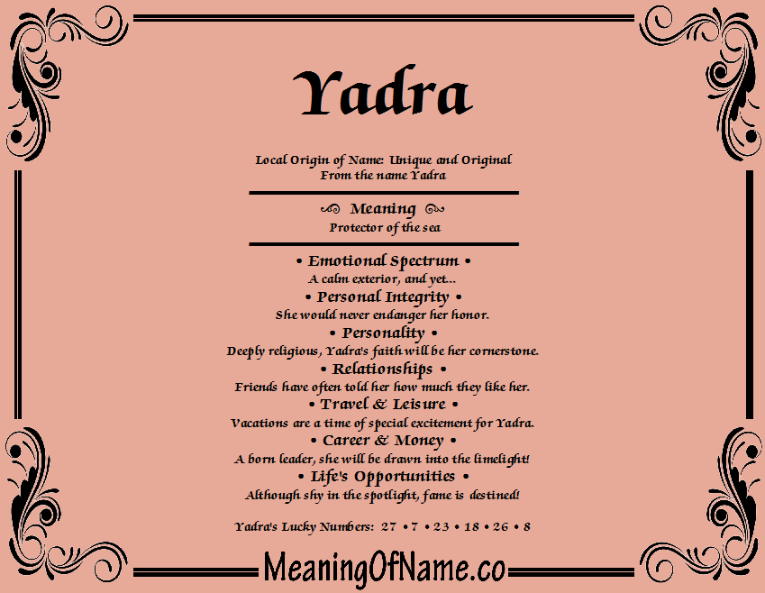 Meaning of Name Yadra