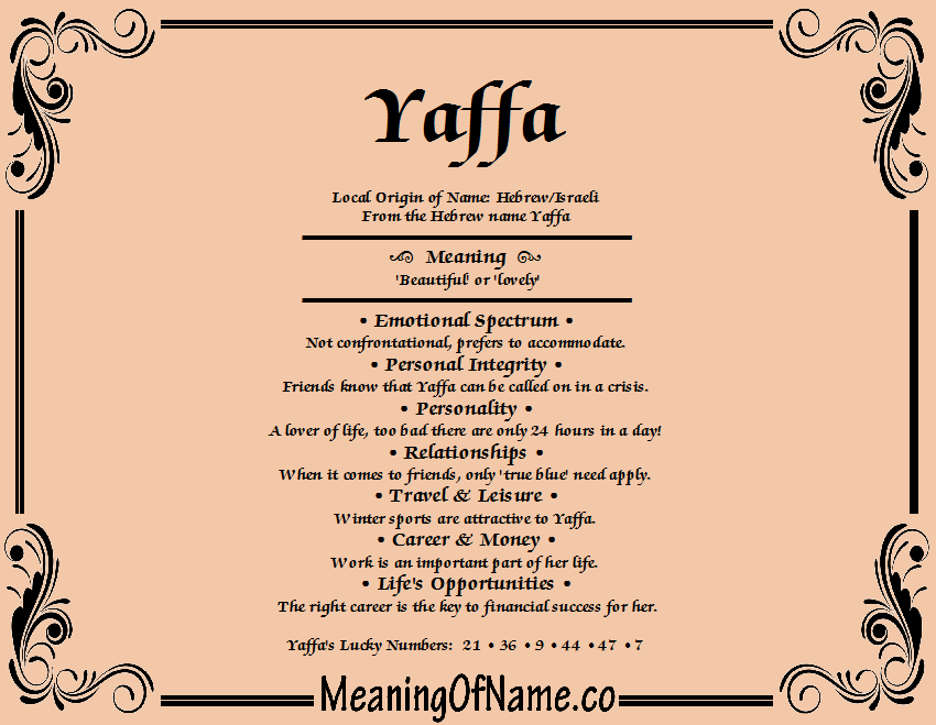 Meaning of Name Yaffa