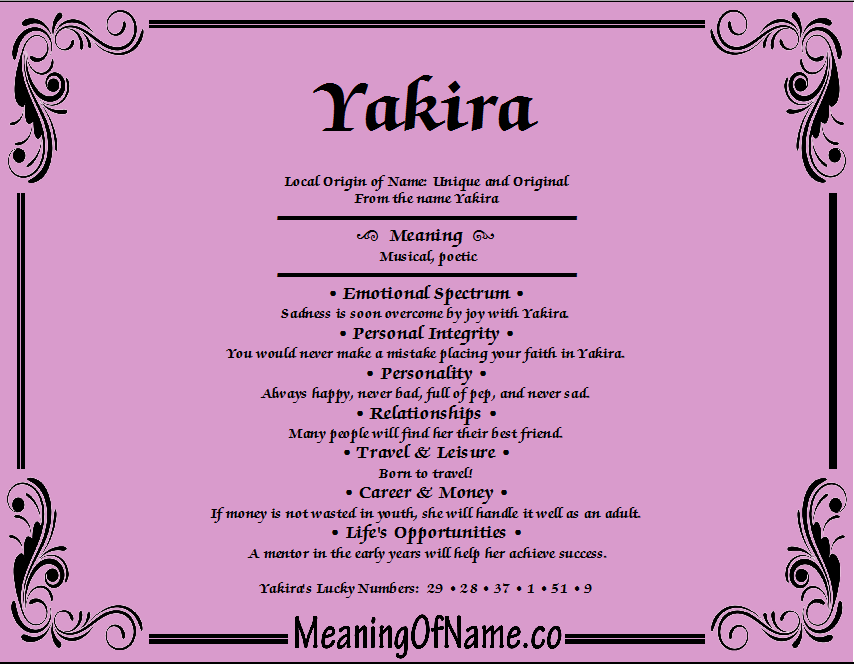 Meaning of Name Yakira
