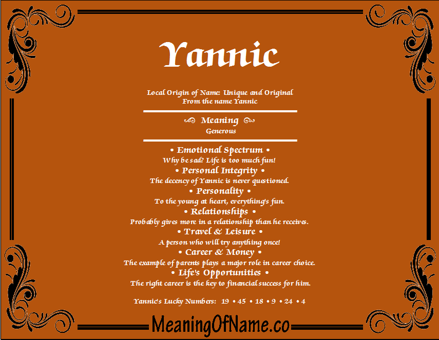 Meaning of Name Yannic