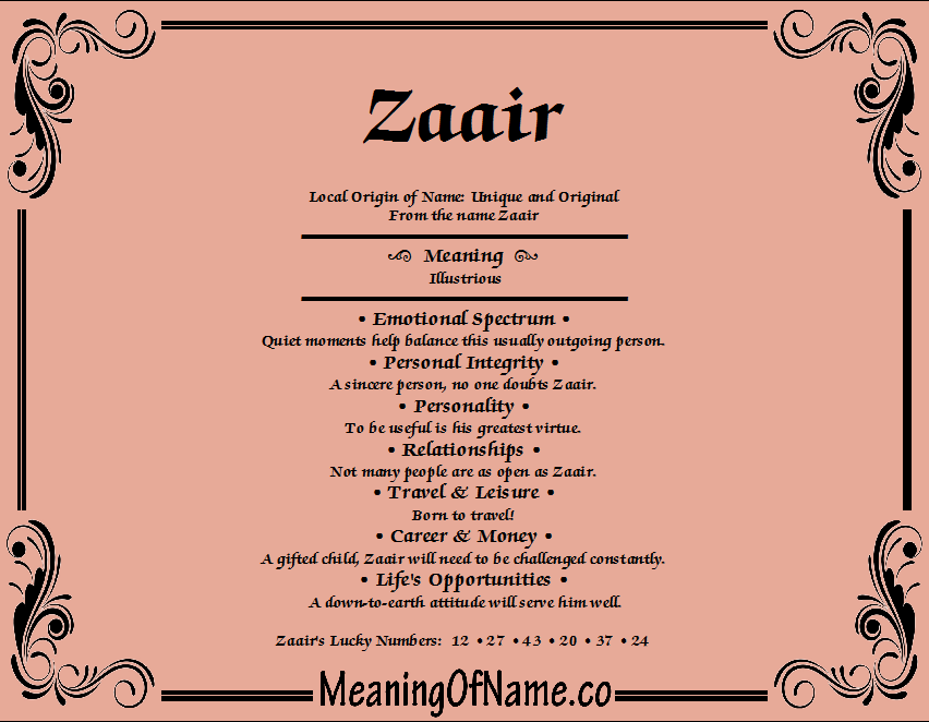 Meaning of Name Zaair