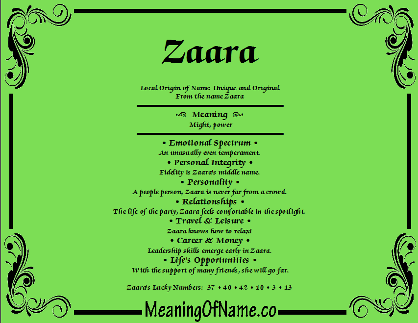 Meaning of Name Zaara