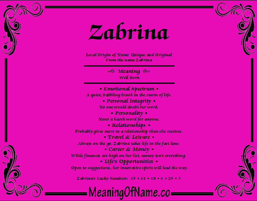 Meaning of Name Zabrina