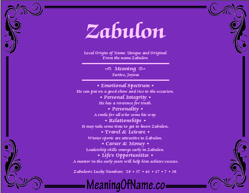 Meaning of Name Zabulon