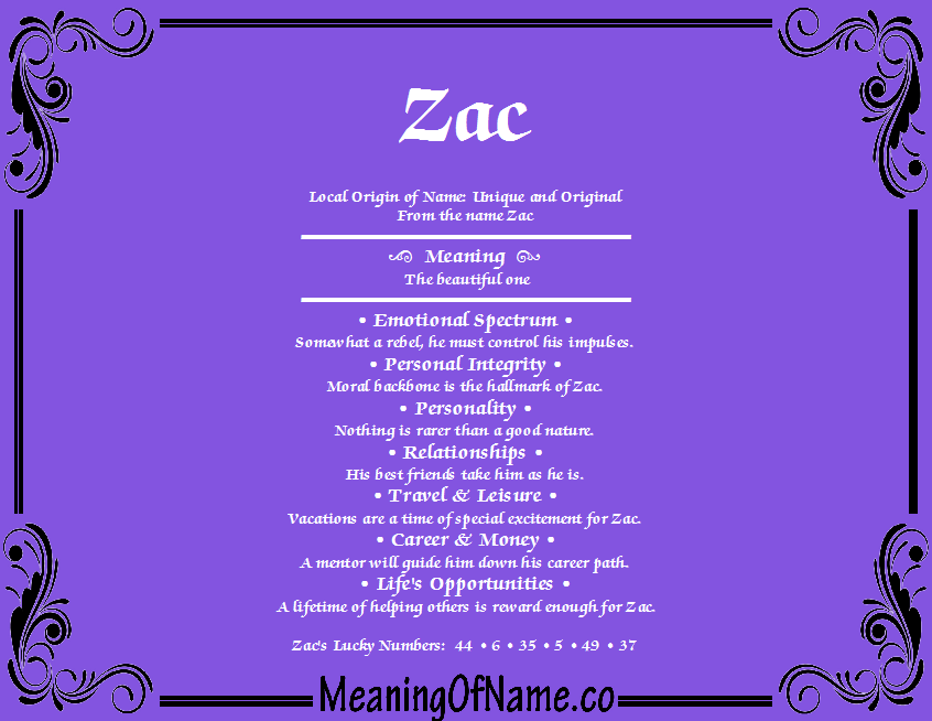 Meaning of Name Zac
