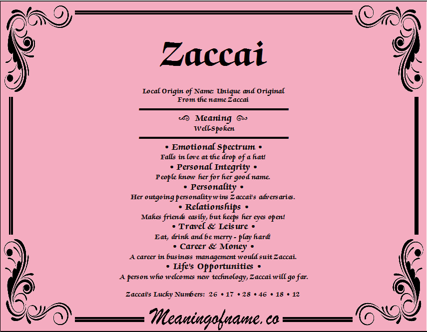 Meaning of Name Zaccai
