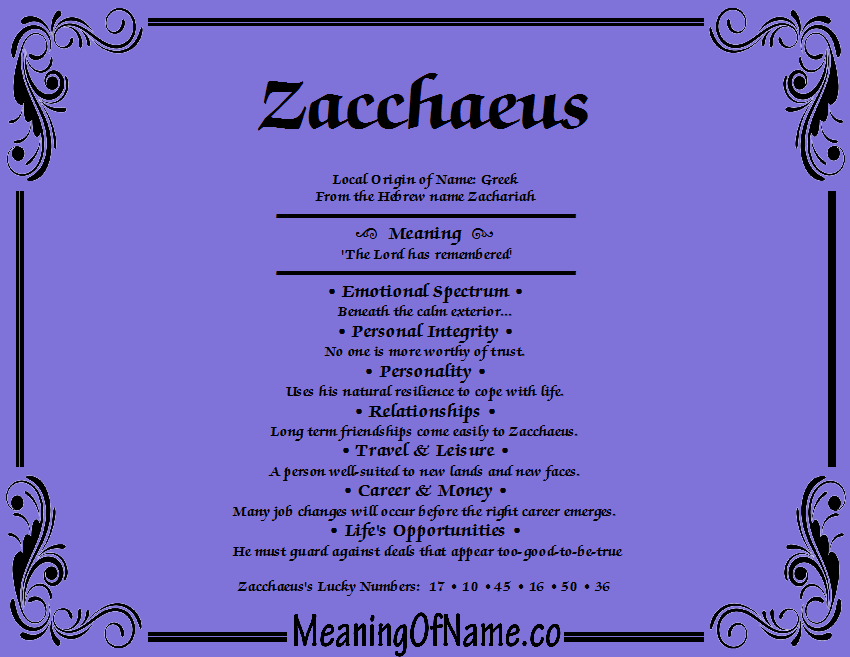 Zacchaeus - Meaning of Name