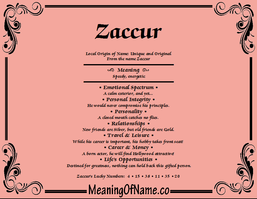 Meaning of Name Zaccur