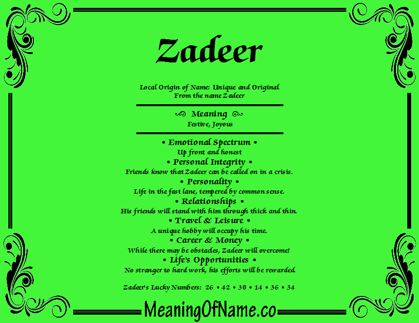 Meaning of Name Zadeer