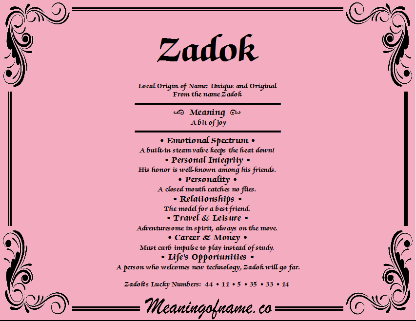 Meaning of Name Zadok