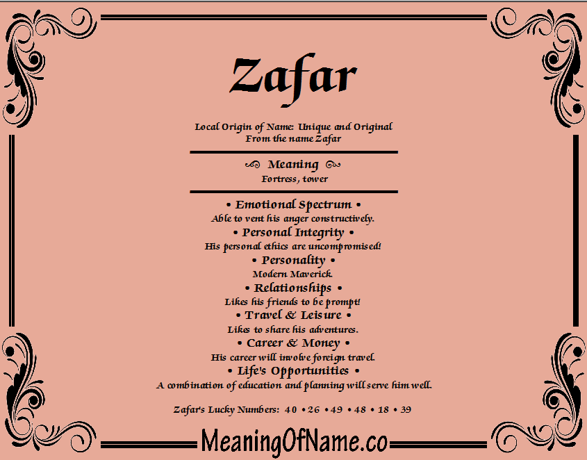Meaning of Name Zafar
